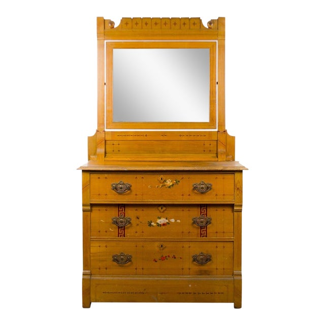 Arts and Crafts Style Floral Motif Dresser With Mirror For Sale