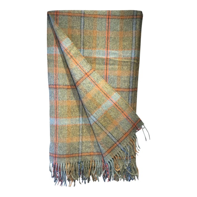 Wool Throw Green Check Made in England For Sale