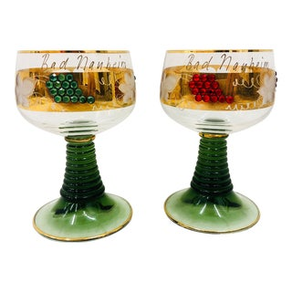 Pair Vintage Glass Goblets For Sale