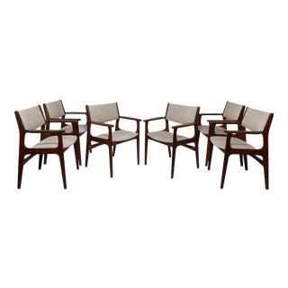 C. 1970s Erik Buch Danish Teak Dining Armchairs -- Set of Six For Sale