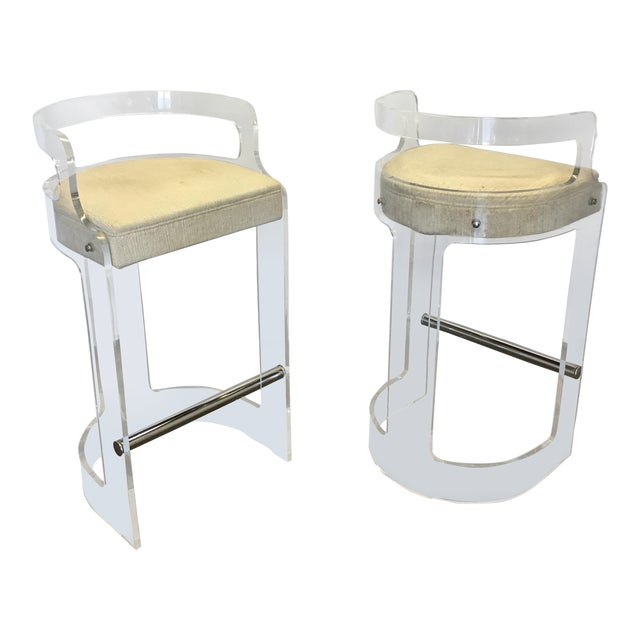Vintage Lucite Bar Stools by Charles Hollis Jones for Hill Mfg. For Sale