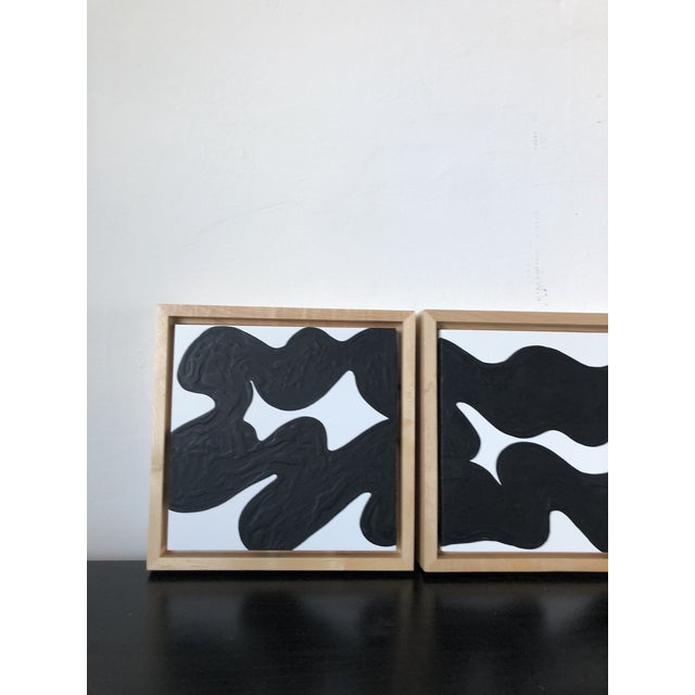 Wave Runner Abstract Black and White Framed Triptych For Sale - Image 4 of 7