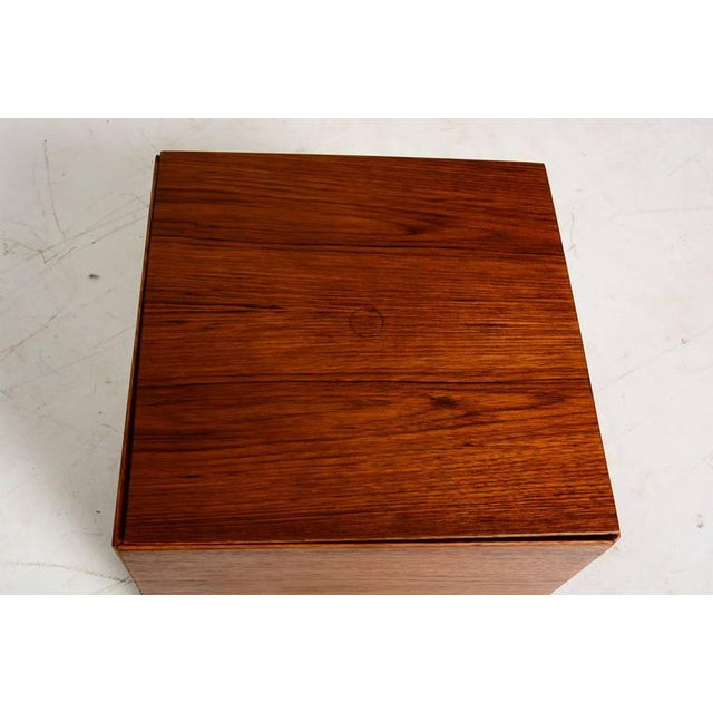 Chrome Set of 6 Teak Nesting Tables Poul Nørreklit for Gp Farum Magic Puzzle Cube For Sale - Image 7 of 7