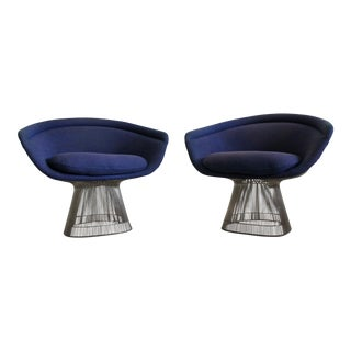 Warren Platner for Knoll Blue Upholstered Platner Lounge Chairs- a Pair For Sale