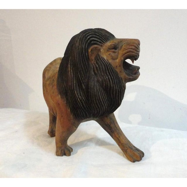 Pair of 19th Century Monumental Hand Carved & Painted Table Top Lions - Image 8 of 10