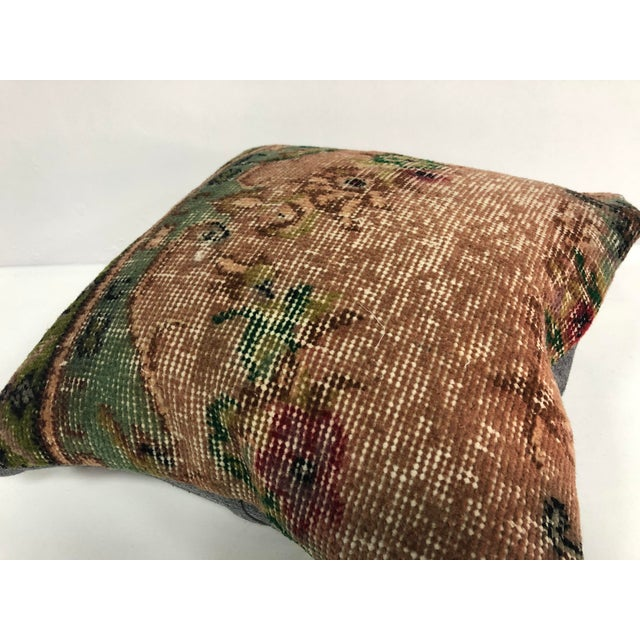Art Deco 1970s Turkish Oushak Bronze and Green Handmade Decorative Pillow Cover For Sale - Image 3 of 6