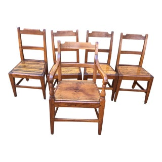 1900s Vintage Farmhouse Rustic Honey Colored Pine Dining Chairs- Set of 5 For Sale