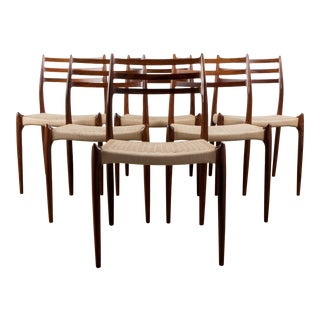 1960s Vintage Niels Møller Model 78 Rosewood Papercord Chairs- Set of 6 For Sale