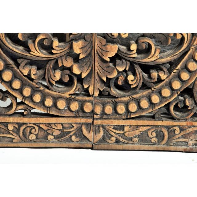 Southeast Asian Carved Teak Flower Panel For Sale - Image 9 of 13