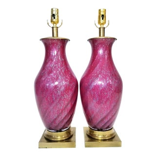 Vintage Murano Style Glass Table Lamps With Fuchsia Pink and Silver Flecks - a Pair - Mid Century Modern Palm Beach Boho Chic For Sale