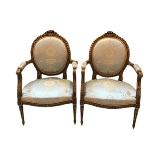 Vintage Mid-Century Louis XVI Gilt Wood Chairs- A Pair For Sale