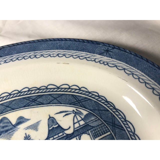 Victorian Woods & Sons Canton Blue Oval Platter Plate For Sale - Image 3 of 8