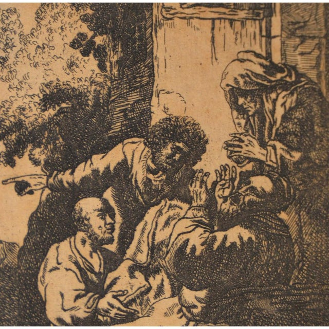 """""""Joseph's Coat Brought to Jacob"""" After Rembrandt Etching in Reverse 18th to 19th C. For Sale - Image 4 of 6"""