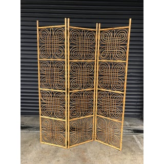 Vintage Burnt Bamboo Folding Screen Preview
