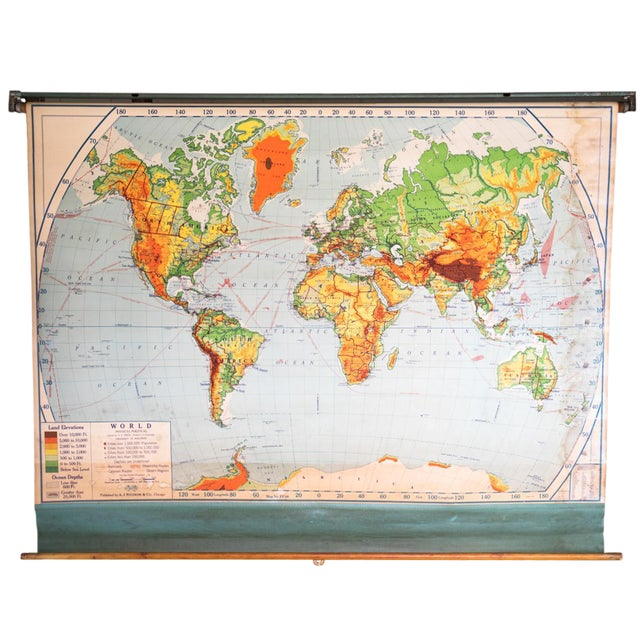 Fantastic 1950s Schoolhouse World Map For Sale