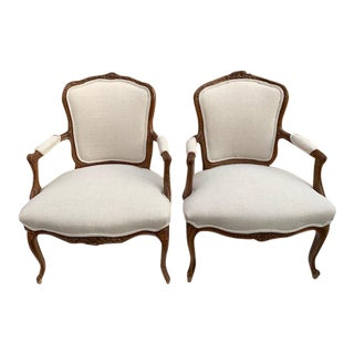 1940s Vintage His and Hers Carved French Armchairs- a Pair For Sale