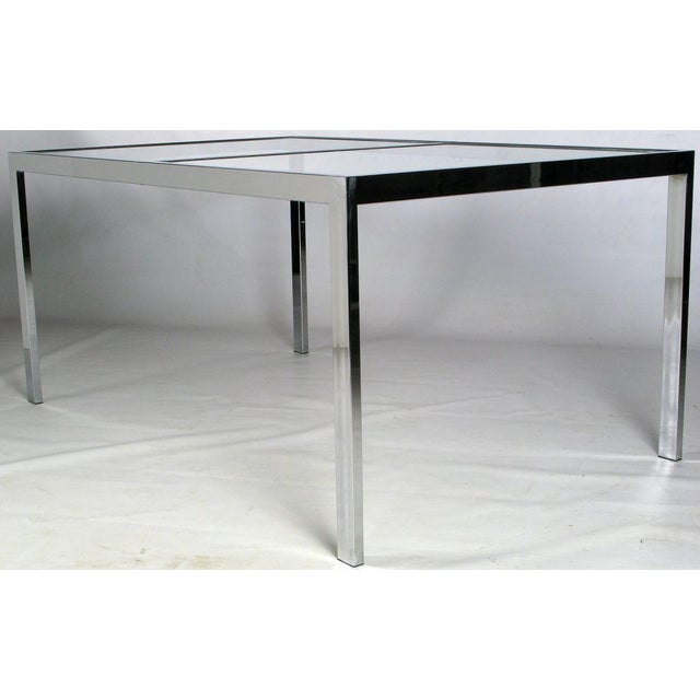 Chromed Steel Parsons Style Dining Table By Milo Baughman - Image 3 of 8