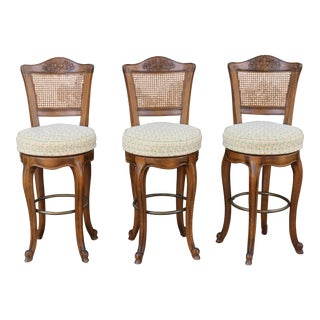 Vintage Fruitwood Carved Bar Stools - Set of 3