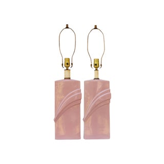 Mid Century Pink Ceramic Lamps, a Pair For Sale