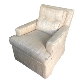 Nancy Corzine Silk Faux Bois Upholstered Club Chair For Sale