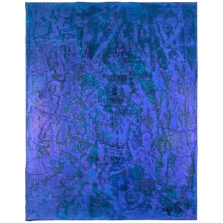 2019 Carol Post Deep Purple Interference Acrylic on Canvas Painting For Sale