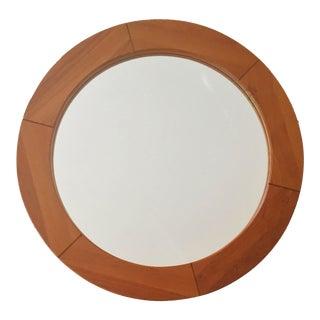 """Mid-Century Modern Pedersen & Hansen 31"""" Round Teak Wall Mirror For Sale"""