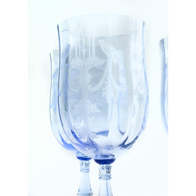 Red Vintage Etched Crystal Wine / Water Glassware Set For Sale - Image 8 of 13