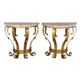 Image of Mid Century Spanish Gilded Iron Consoles - a Pair For Sale