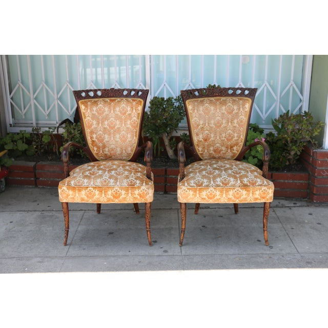 1940's Pair of Carved Chairs For Sale - Image 12 of 12