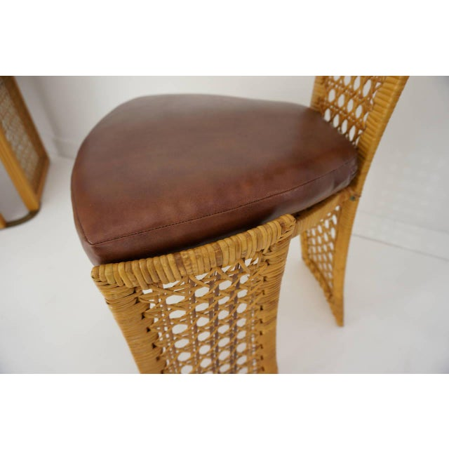 Brown Italian Rattan Dining Chairs With French Caning by Vivai Del Sud - Set of 8 For Sale - Image 8 of 11