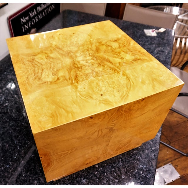Milo Baughman Era Burled Cube Table - Image 7 of 7
