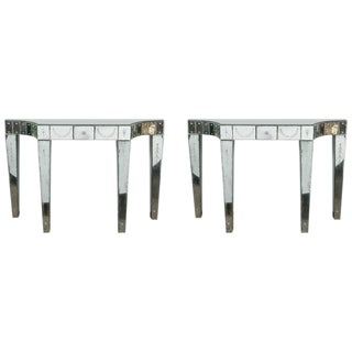 Fine Pair of Custom Quality Etched and Mirrored Hollywood Regency Console Tables For Sale