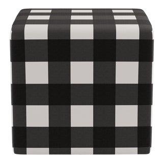 Cube Ottoman in Black Check For Sale