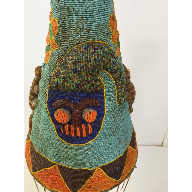 African Yoruba Nigeria African Royal Beaded Headdress Crown on Lucite Stand For Sale - Image 3 of 13