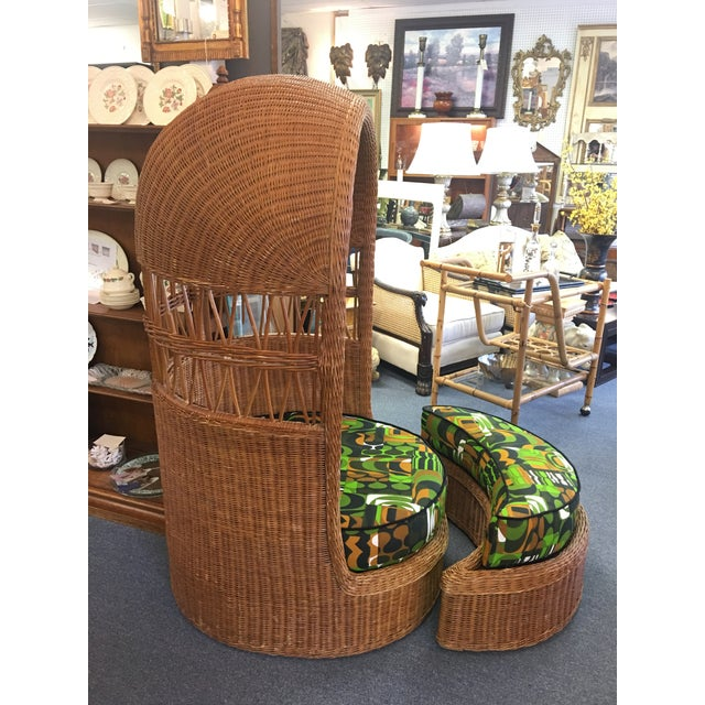 Vintage Mid Century Dome Hood Wicker Chair and Ottoman Set with Retro 1960's MCM Cushions. Deep cozy chair with a moon...