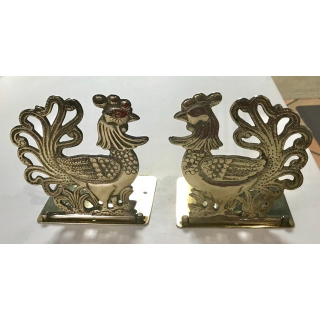 Vintage Brass Rooster Bookends - A Pair For Sale - Image 11 of 11