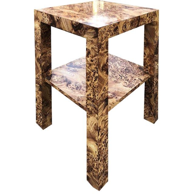 1970s Hollywood Regency Burl Effect Accent Table For Sale