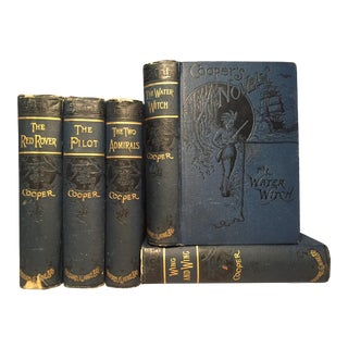1900s Decorative Volume Set, James Fenimore Cooper's Sea Tales - Set of 5 Books For Sale