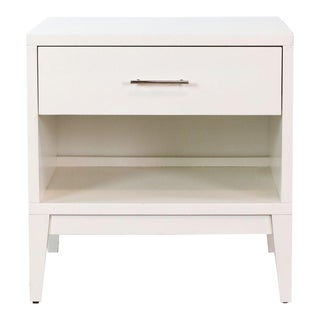 West Elm One Drawer White End Table For Sale
