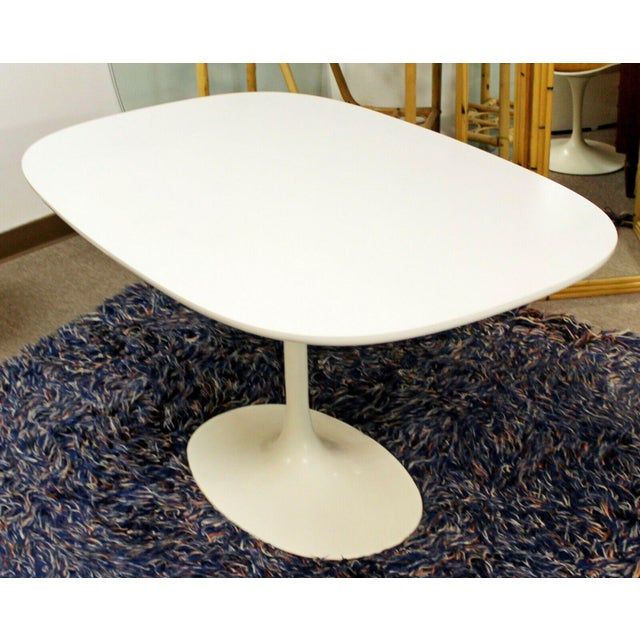 Mid Century Modern Saarinen Style Rectangular White Tulip Dining Table For Sale In Detroit - Image 6 of 8