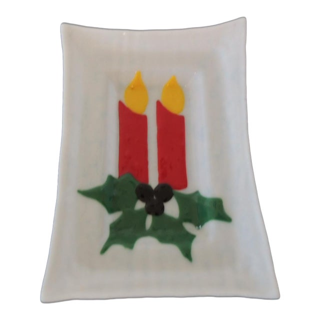 Vintage Holiday Milk Glass Serving Tray With Candles and Holly For Sale