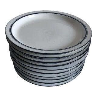 Vintage Blue & White Dansk Bistro Dinner Plates S/10 For Sale