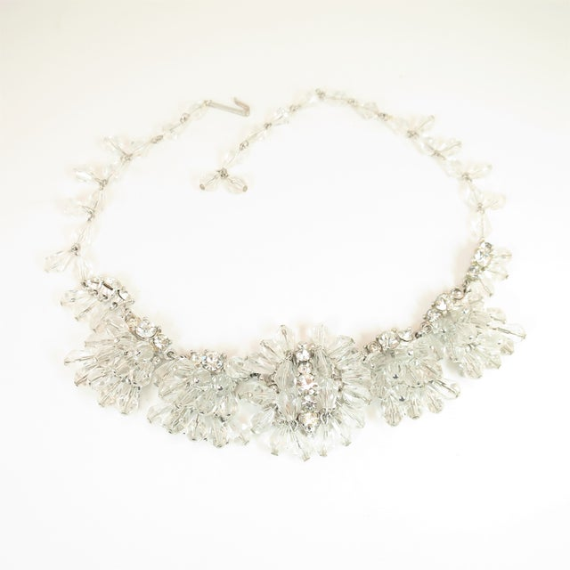 Mid-Century Hand-Made Austrian Crystal Cluster Necklace Suite 1950 For Sale - Image 4 of 13