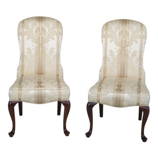 Jessica Charles Damask Upholstered Cherry Leg Chairs- A Pair For Sale