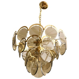 Vintage Italian Murano Vistosi Smoked Beveled Glass Disk and Brass Chandelier For Sale