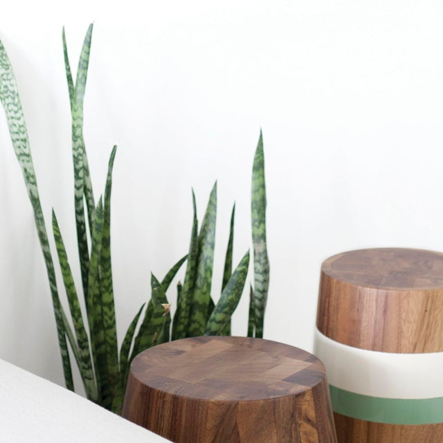 Contemporary Capirucho Side Table & Stool Lacquered Bands For Sale - Image 3 of 7