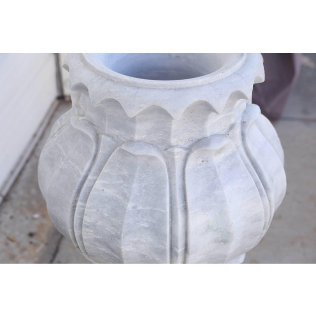 Vintage Mid Century Hand-Carved Two-Part Pure Marble Garden Vases- A Pair For Sale - Image 10 of 11
