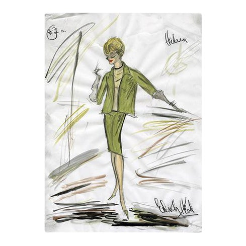 "Reproduction Framed Print of Original Costume Sketch by Edith Head for Tippi Hedren ""The Birds"" (1963) - Image 4 of 4"