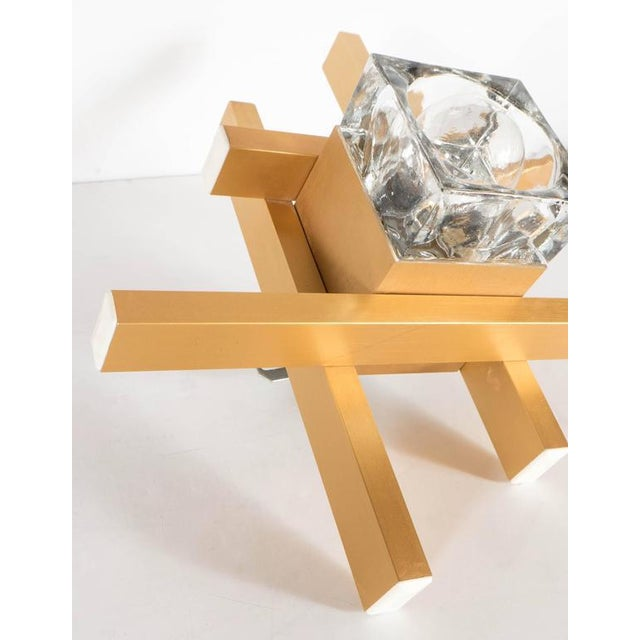 Brass Mid-Century Modernist Flush Mount Brass and Cubed Glass Fixture by Sciolari For Sale - Image 7 of 9