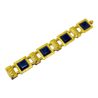 Monet Blue Thermoset Link Bracelet For Sale